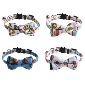 Cute Printed Cat Dog Collars Fashion Bow Puppy Collar Leashes Bulldog Teddy Corgi Pet Supplies Accessories