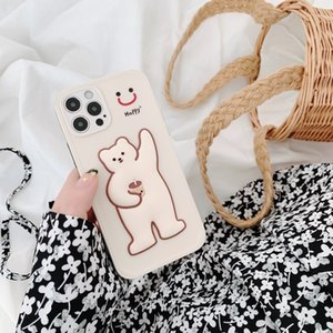 Stick-stick milk tea bear patch phone cases color button lens full package for iPhone 12 11 pro promax X XS Max 7 8 Plus