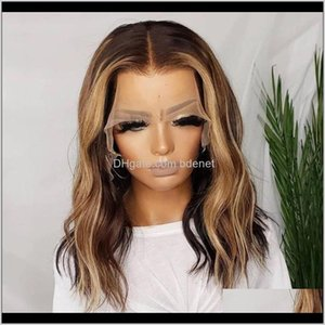 Wigs Highlight Blonde Remy Wavy 360 Lace Frontal Human With Baby Hair Pre Plucked 150Density Huncl Ihmea