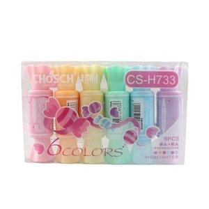 Highlighters 6 Colors Cute Fresh Candy Shape Dual Head Highlighter Kawaii Fluorescent Pen Hook Color Brand School Supplies