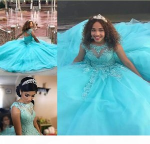 Blue Ball Gown Quinceanera Dresses 2018 Lace Appliques Beaded Sweet 16 Long Prom Dresses Custom Made Evening Gowns Formal Wear