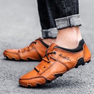 2021 봄 남성 캐주얼 가죽 신발 대형 48 작은 38 레이스 업 낙지 패션 수제 완두콩