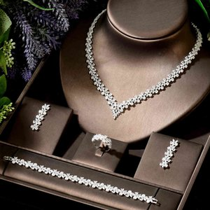HIBRIDE Temperament Women Wedding 4pcs Necklace and Earring CZ Water Drop Jewelry Set Party Gifts bijoux femme N-1907
