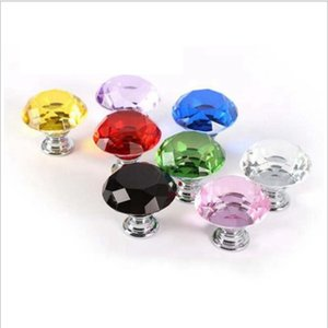 30mm Diamond Crystal Glass Door Knobs Drawer Cabinet Furniture Handle Knob Screw Furniture Accessories JJA257