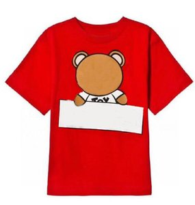 Kids T shirts Boys Top Girls Tees 2021 Short Sleeve Shirt Baby Children Letter Printed with Bear Pattern Tshirt Pullover