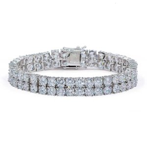 Whosale Hip Hop 2 Rows Gold Silver Cubic Zirconia Iced Out Tennis Bling Lab CZ Stones Bracelet
