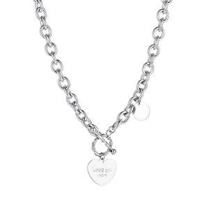 Kazak zinciri kolye kolye bayan şerit için paslanmaz çelik aşk kalp etiketi takı kız kardeşi kız doğum günü hediyeleri