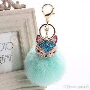 Charms Crystal Faux Fox Fur Keychain Women Trinkets Suspension On Bags Car Key Chain Key ring Toy Gifts Llaveros Jewelry kids toys
