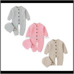 Jumpsuits Winter Born Baby Boy Girl Knit Romper Wool Sweater Jumpsuit Hat 2Pcs Outfits Size 024M 1Nbpu 3Kaz0