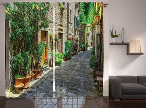 Curtain & Drapes Tuscan Curtains Doorway To House Build With Cobblestone Many Flowering Plants Window For Living Room