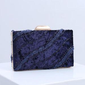 Evening Bags 2021 Fashion Velvet Clutch Bag Women Luxury Handbag Bride Fringe Lace Disigner Wedding Purse Wallet