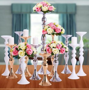 artificial rose flower bouquet with metal flower vase stand candle holder candlestick rack wedding centerpiece decoration