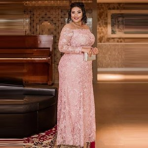 Lace Mother Of The Bride Dresses Plus Size Appliques Pink Jewel Neck Long Sleeves Sheath Formal Dinner Dresses For Women