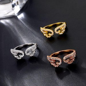 Adjustable Angel Wings Ring Micro Pave Zircon Gold Color Wing Charm Open Band Rings For Women Vintage Fashion Jewelry Wedding femme Female Gift