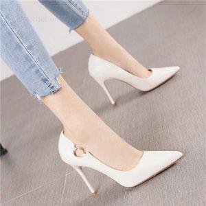 Платье обувь мода заостренные сексуальные каблуки шпильки весна 2021 женщина дикий белый неглубокий рот одинокий лето