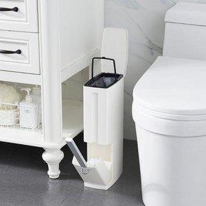 Waste Bins Plastic Bathroom Bin Dustbin Trash Toilet Brush Garbage Bucket Can Set Bag Dispenser
