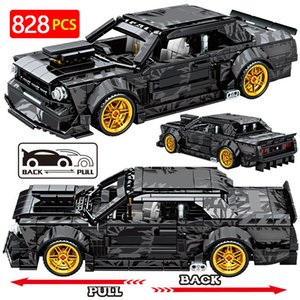 City Mechanical Pull Back Speed Car MOC Brick Creator high-tech Convertible Racing Vehicle Building Block Toy For Children 210416
