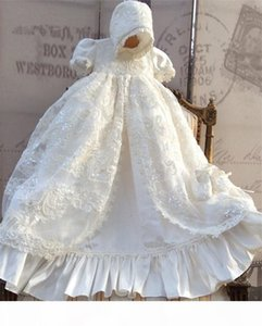 2021 Lace Christening Gown Lace Sequins Baby Infant Toddler Girls Baptism Dresses With bonnet White Ivory