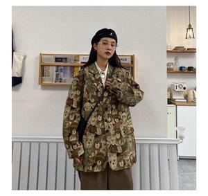 Jaquetas Femininas Primavera e Outono Japonês Retro Vintage Estilo Full College Chefe Bear Manga Longa Coreano Solto Terno Casaco
