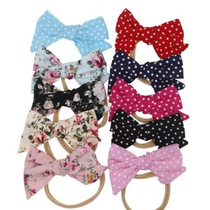Baby Floral Hair Bands Big Bow Nylon Headbands Girl Boutique Checker Floral Printed Hair Clip Solid Polka Dot Elastic Baby Accessories LSK43