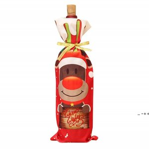 Christmas Red Wine Bottle Covers Bag Snowman Canta Claus Holiday Champagne Bottles Cover Decorations For Home FWE10463