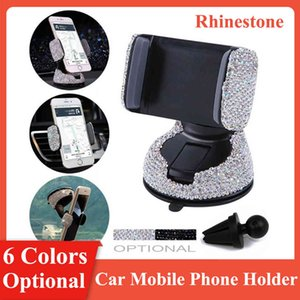 6 Colors Universal 3 in 1 Car Mobile Holder Shiny Rhinestones Suction Cup Mount Dashboard Air Vent Clip Auto Phone Stand
