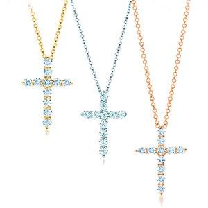 Design White Cubic Zircon Women Gold necklace Lady Silver necklaces Cross Designer Pendant Necklace Luxury Brand