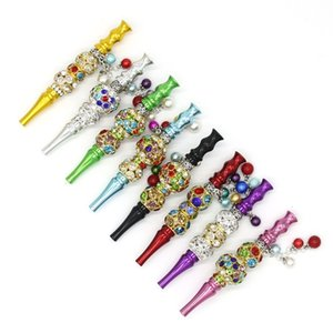 2020 Fashion Cigarette Holder Inlaid Jewelry Diamond Hookah Shisha Bling Pipes Pendant Drip Tips Accessories Vertical NewArrival 15kl D2
