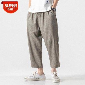 Summer Joggers Men Pants Cotton Linen Casual Slim Streetwear Vintage Sweatpants Ankle-length Trousers #wl1c