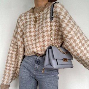 Геометрический хаки вязаный свитер Женщины повседневная густота вязание женской осенью зима ретро перемычки верхняя одежда мужские свитера