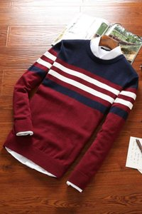 Fall 2021 new men's knitwear teenagers stripe round collar cultivate one's morality leisure knitting a sweater