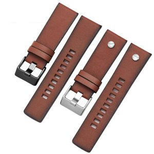 Смотреть полосы ретро натуральный кожаный ремешок для DZ4323 DZ1657 DZ1405 серии COW Waterband 20 22 24 28 28mm Brown