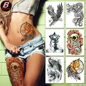 Flower arm waterproof tattoo stickers skull water transfer dragon owl temporary tattoo tattoo stickers custom