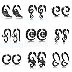 Punk Tribal Spiral Fake Gauges Acrylic Ear Tapers Fake Plugs Horn Stud Earrings Wing Faux Fake Plugs Piercings Body