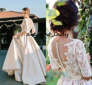 Champagne Lace Stain Wedding Dresses with Half Sleeve 2019 Sheer Jewel Neck Covered Button Sweep Train Country Garden Wedding Gown