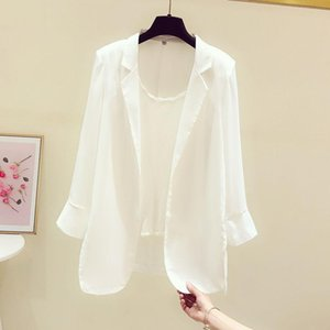 Womens Suits Blazers Chiffon Small Suit Jacket Female Design Sense Niche 2021 Spring And Summer Thin Casual Sunscreen