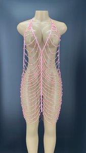 Stage Wear Hollow Pink Beaded Chains Mini Dress Club Singer Dancer Evening Outfit Women Birthday Prom Backless YOUDU