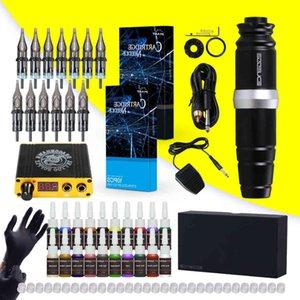 Dragonhawk Tattoo Kit Rotary Motor Pen Machine 20 Color Inks Power Supply Cartridges Needles D3035
