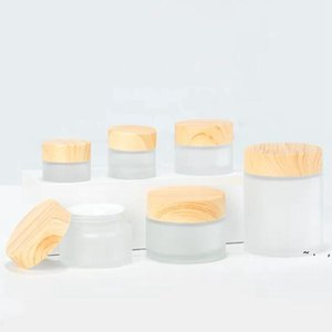 Frosted Glass Jar cream bottle Storage Boxes with imitation wooden lids 5G 10G 15G 30G BWB6265