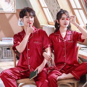 Burgundy Satin Couples Pajamas Set For Women Men Long Sleeve Sleepwear Pyjamas Suit Home Clothing His-and-hers Clothes Pijamas Men's