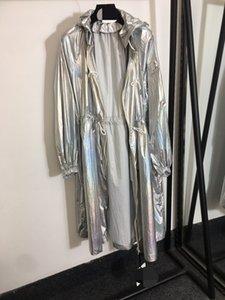 508 2021 летнее пальто с длинным рукавом с капюшоном бренда же стиль пальто мода женская одежда блестящая траншея шерсть на молнии