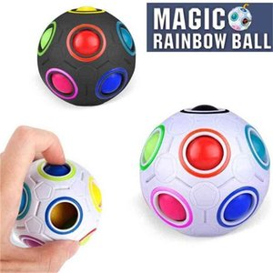 Creative Rainbow Ball Magic Cube Toy 12 Hole Speed Football Spherical Puzzles Fingertip Toys Pressure Ball Autism Special Needs H4172S1