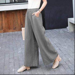 Women Womens Capris Wide Leg Fashion Loose High Waist Solid Linen Pants Casual Long Pantalon Trouser Femme Palazzo Korean style