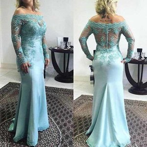 2019 Off The Shoulder sky blue Mermaid Prom Dresses Long Sleeves Lace appliques Satin Evening Dresses Formal Evening Dress party Dress