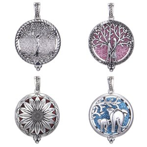 16 Designs Locket sunflower Tree of Life Elephant Essential Oil Pendant Diffuser Necklace Charms for Making