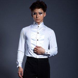 قمصان رجالية غير رسمية S-6XL !!! Ballroom dancing سترة بيضاء طويلة الأكمام أداء دعوى اللباس المنافسة