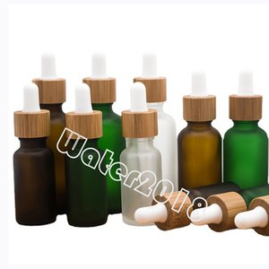 30ML Glass Dropper Bottle Bamboo Ring Frosted Essential Oil Bottles Travel Portable Cosmetic Empty Bottling 3 Colors