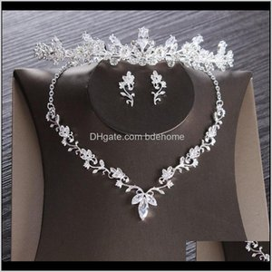 Settings Drop Delivery 2021 Luxury Cubic Zircon Leaf Bridal Rhinestone Diadem Tiaras Crown Choker Necklace Earrings Wedding Jewelry Set Bijou