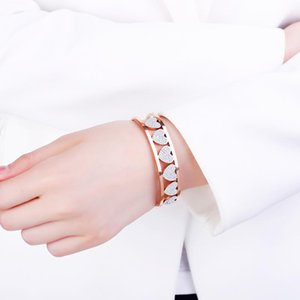 Trendy Love Heart For Woman Colorful Crystal Stainless Steel Bracelets&Bangles Wedding Jewelry Party Gifts 2021 Bangle