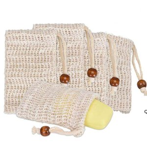 Soap Exfoliating Bags Natural Ramie Soap Bag Mesh with Drawstring for Foaming and Drying the Soap DHF6263